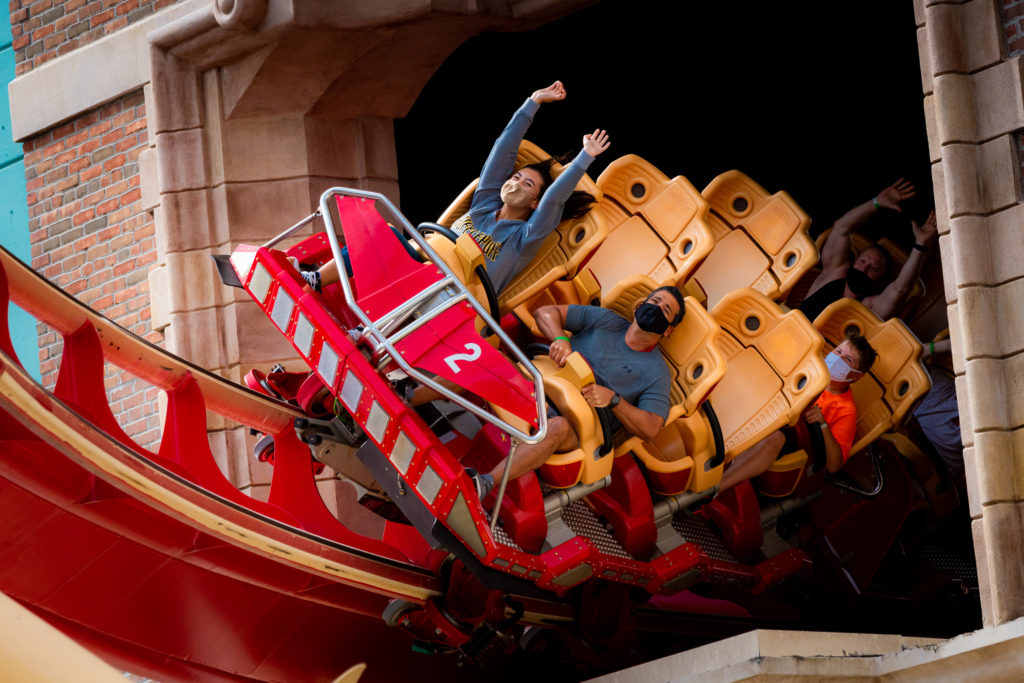 Riders aboard Hollywood Rip Ride Rockit at Universal Studios Florida