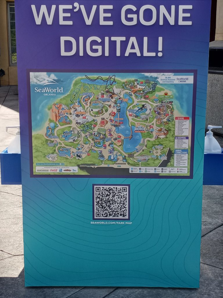 Digital map kiosk at SeaWorld Orlando