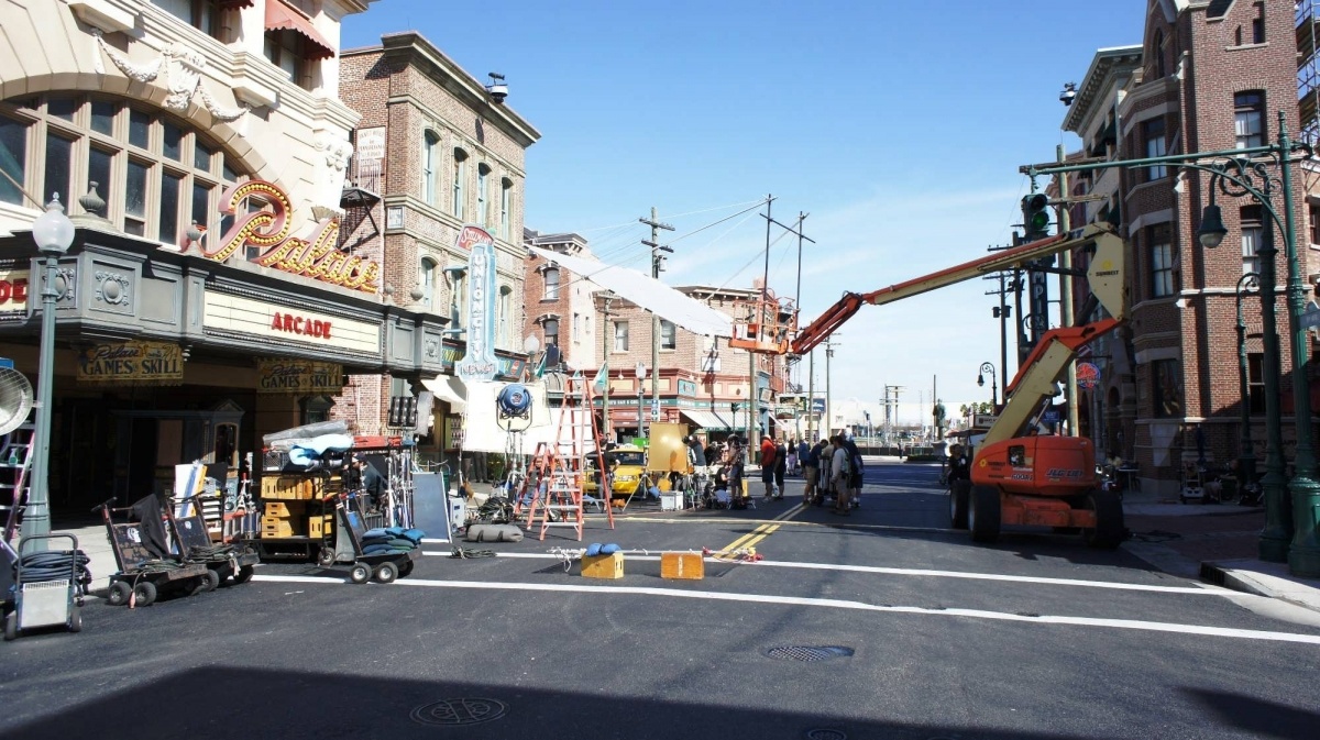 Filming production in the New York backlot