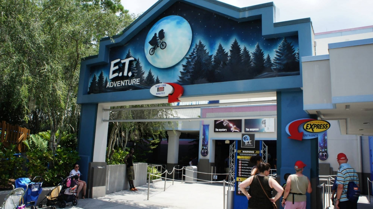 The entrance to the E.T. Adventure with the iconic image of the flying bicycle