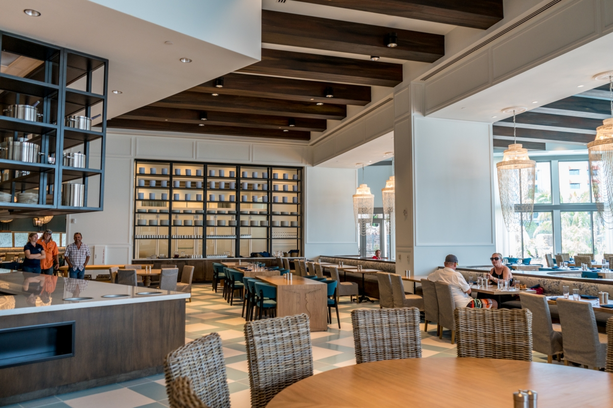Inside seating and the buffet at Amatista Cookhouse, Loews Sapphire Falls Resort