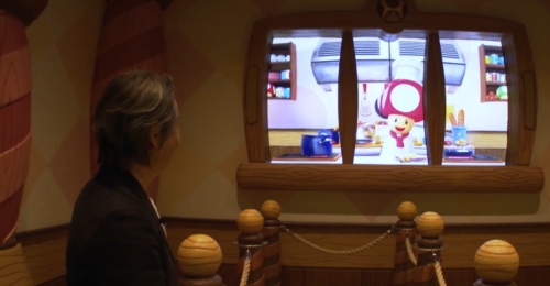 Chef Toad greets you at Kinopio's Cafe in Super Nintendo World