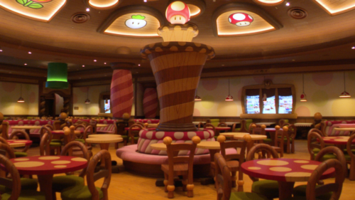 The interior of Kinopio's Cafe in Super Nintendo World
