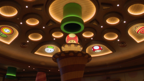 The ceiling of Kinopio's Cafe in Super Nintendo World