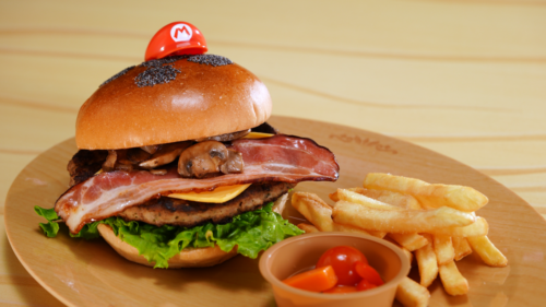 Mario Burger at Kinopio's Cafe in Super Nintendo World