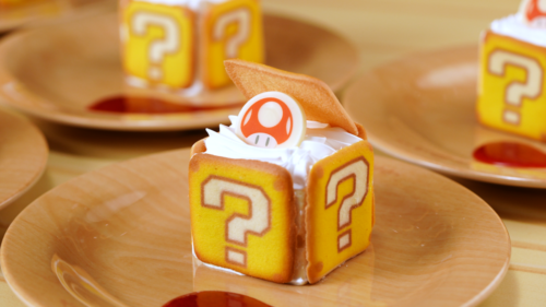Question-mark Block Tiramisu at Kinopio's Cafe in Super Nintendo World