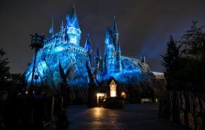 Nighttime Lights at Hogwarts Castle at Islands of Adventure