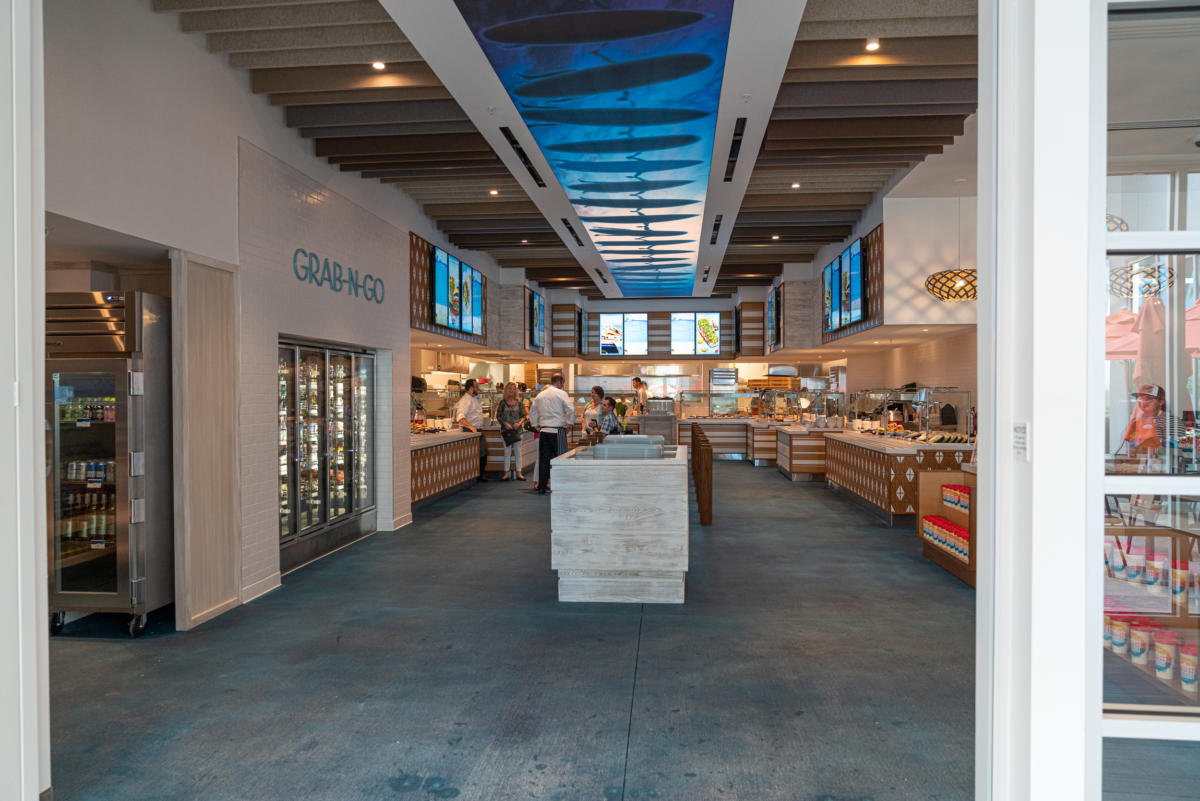 Grab-and-go and hot counter options at Beach Break Cafe