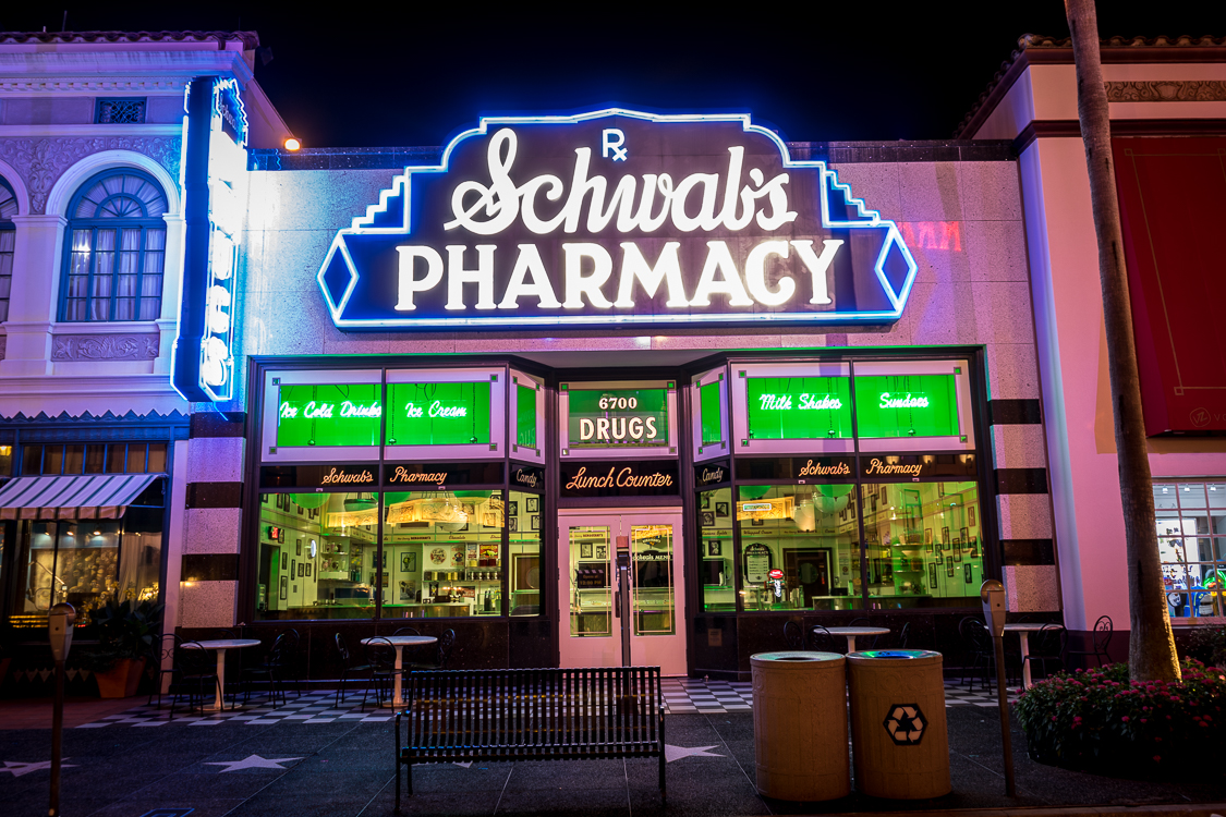 The neon-lit entrance to Schwab's Pharmacy