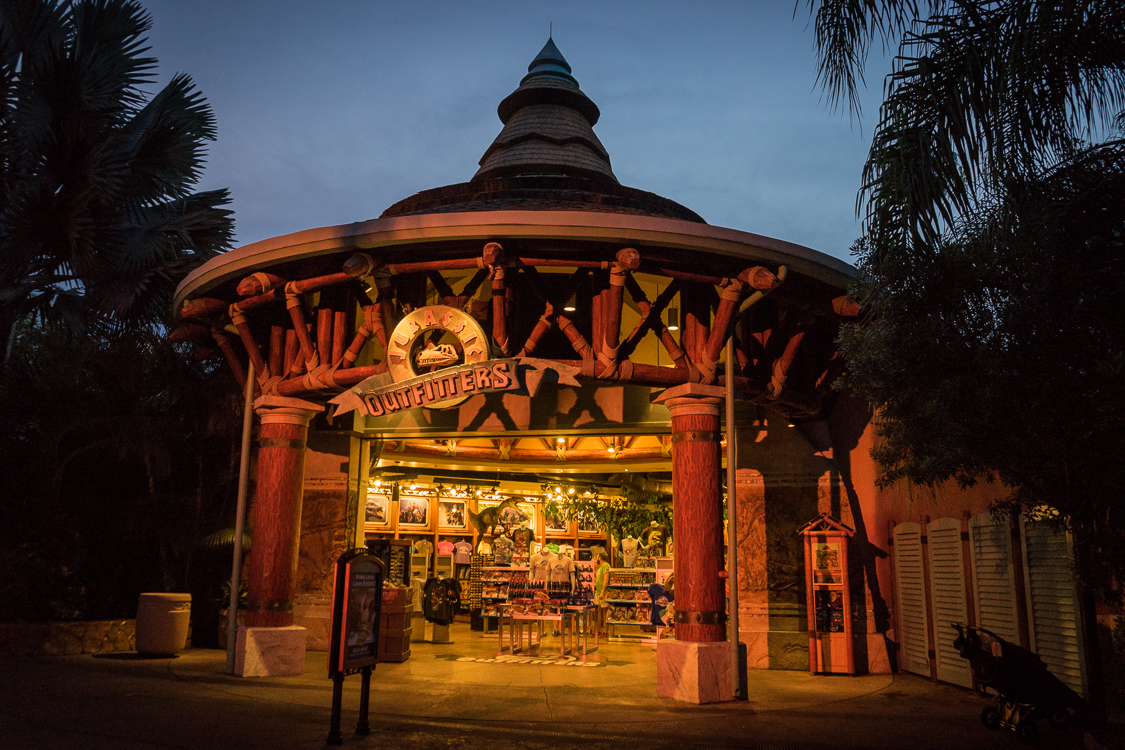 The entrance to Jurassic Outfitters shop near Jurassic Park River Adventure